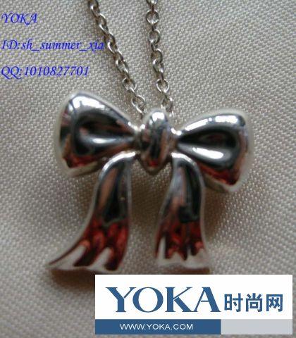 价转让日本购入Tiffany蒂芙尼925银蝴蝶结项链